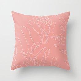 Monstera No2 Pink Throw Pillow