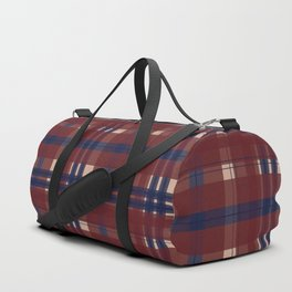 Plaid- Navy Red and Tan Duffle Bag