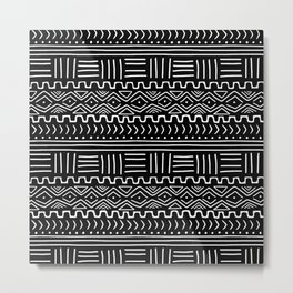 Mud Cloth on Black Metal Print