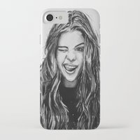 selena gomez iPhone & iPod Cases featuring Hello Selena! by vooce & kat