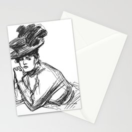 Victorian ladies' fashion sketch Stationery Cards