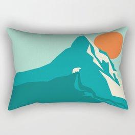 As the sun rises over the peak Rectangular Pillow