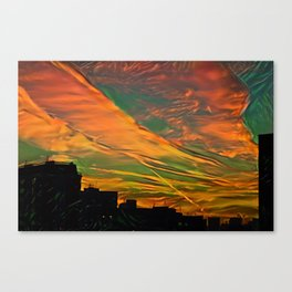 Sunset above city after a thunder-storm Canvas Print