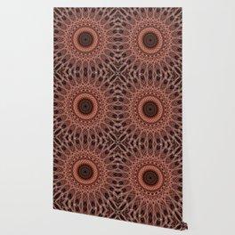 Dark brown and red mandala Wallpaper
