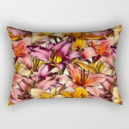 Daylily Drama - a floral illustration pattern Rectangular Pillow