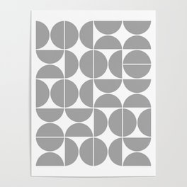 Mid Century Modern Geometric 04 Grey Poster