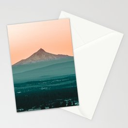 Stratovolcano Sunset // Beautiful Scenic Oregon Mountain Scape Teal Rolling Hills Snow Summit Stationery Cards