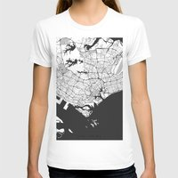 singapore T-shirts featuring Singapore Map Gray by City Art Posters