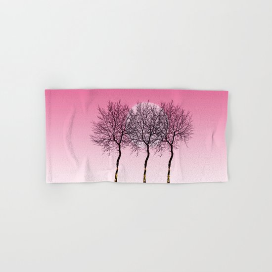 Triplet trees in pink Hand & Bath Towel