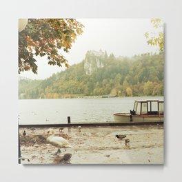 Bled, Solvenia: Swan & Castle Metal Print