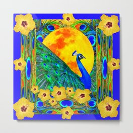 YELLOW HIBISCUS FULL GOLDEN MOON  BLUE PEACOCKS Metal Print