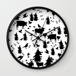 Cow Out In the Pasture by Lorloves Design Wall Clock