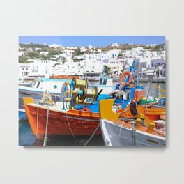 Colorful Boats in Mykonos Greece Metal Print