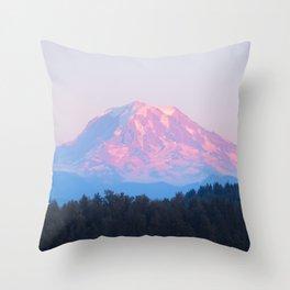 Mount Rainer Alpenglow Throw Pillow