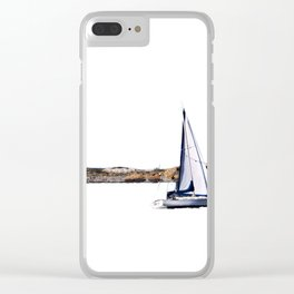 Sailing By Old Boston LIghthouse Clear iPhone Case