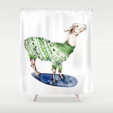 Llama in a Green Deer Sweater Shower Curtain