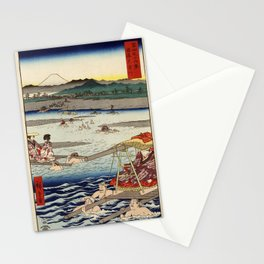 Hiroshige - 36 Views of Mount Fuji (1858) - 26: The Ōi River between Suruga and Totomi Provinces Stationery Cards