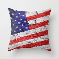 Vintage Patriotic American Flag Throw Pillow