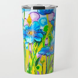 Blue Poppies 2 with Border Travel Mug