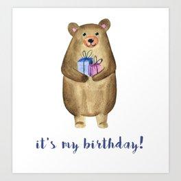 Happy Birthday Watercolor Bear Art Print