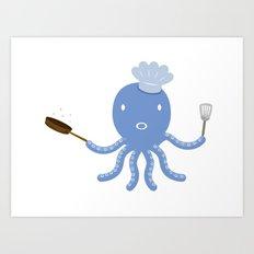 Octopus shef Art Print