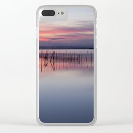 Peaceful view of the Valencia water's surface with the land in the distance Clear iPhone Case