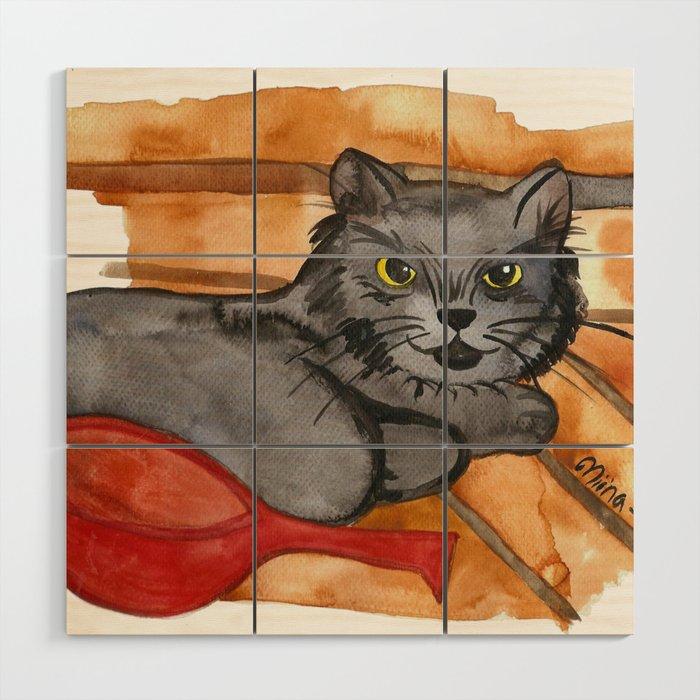 Cat in the Sauna Wood Wall Art