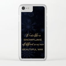 We are like a snowflake - gold glitter Typography on dark backround Clear iPhone Case