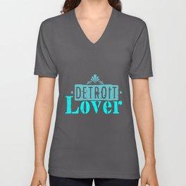 Detroit lover | Michigan logo Lettering Unisex V-Neck