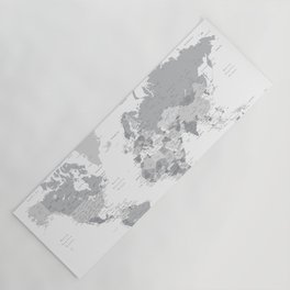 """Gray world map with cities, states and capitals, """"in the city"""" Yoga Mat"""