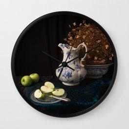 Green apples and china still life Wall Clock