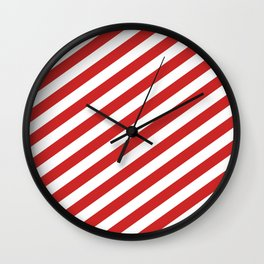 Red and White Candy Cane Stripes, Thick Angled Lines Festive Christmas Wall Clock