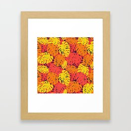 Modern tropical summer yellow orange red cheese leaves floral Framed Art Print