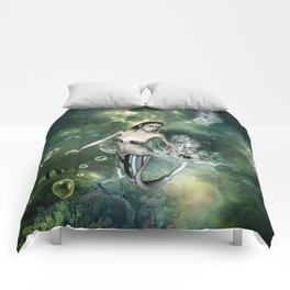 Awesome fantasy mermaid in the deep ocean Comforters