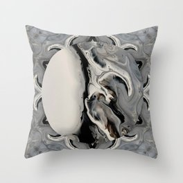 Silver Streak Globe Digital Art Silver and Black Design Throw Pillow
