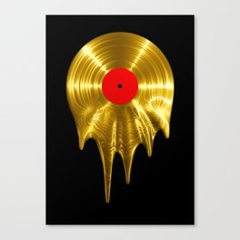 Melting vinyl GOLD / 3D render of gold vinyl record melting Canvas Print