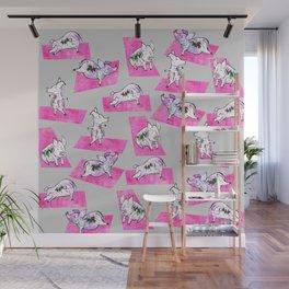 Pink Yoga Pigs - Downward Facing Hog Wall Mural