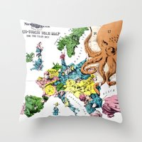 political Throw Pillows featuring Vintage Political Cartoon Map of Europe (1877)  by BravuraMedia
