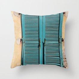 Turquoise Window shutters - Italy Elba-Island Throw Pillow