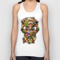 animal skull Tank Tops featuring Floral Flower animal skull kingdom by KomarWork