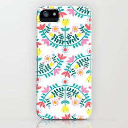 Folk Flowers White iPhone Case