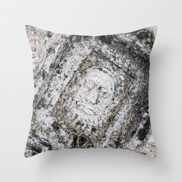 Stone Face | Ancient Traveling Photograph Ruins Ephesus Architecture Detail Turkey Man in the Ground Throw Pillow