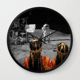 Rgaya and Sabeecha go to the moon Wall Clock
