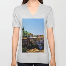 Cerro Conception, Valparaiso, Chile Unisex V-Neck