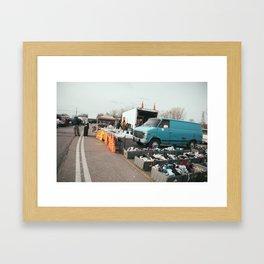 Blue Van flea market Framed Art Print