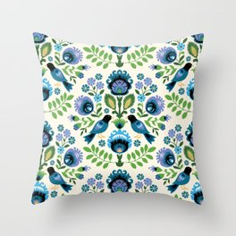 Polish Folk Birds Throw Pillow