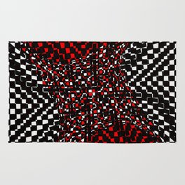 black white red 3 Rug