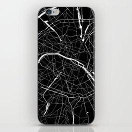 Paris France Minimal Street Map - Black on White iPhone Skin