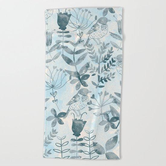 Watercolor Botanical Garden IV Beach Towel
