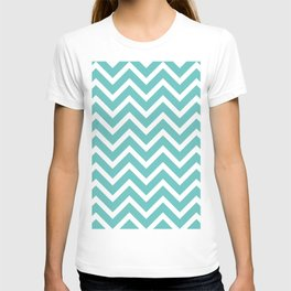 mint green, blue zig zag pattern design T-shirt